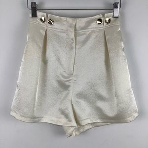 Topshop Pleated High Waist Satin Shorts in White